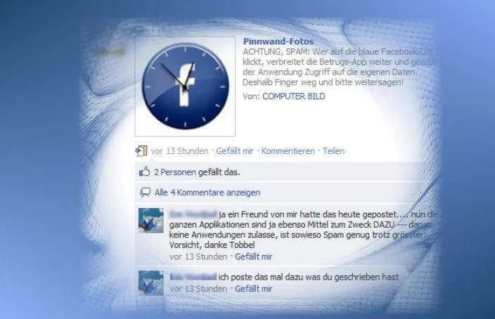 Uhr-Spam auf Facebook