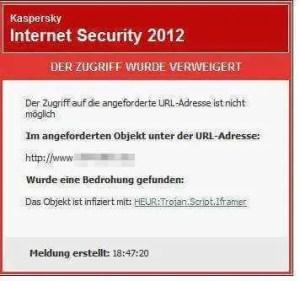 Virenmeldung mit Webseitensperre
