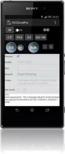 Fernauslöse App für Sony-Kameras RCCDroidPRo
