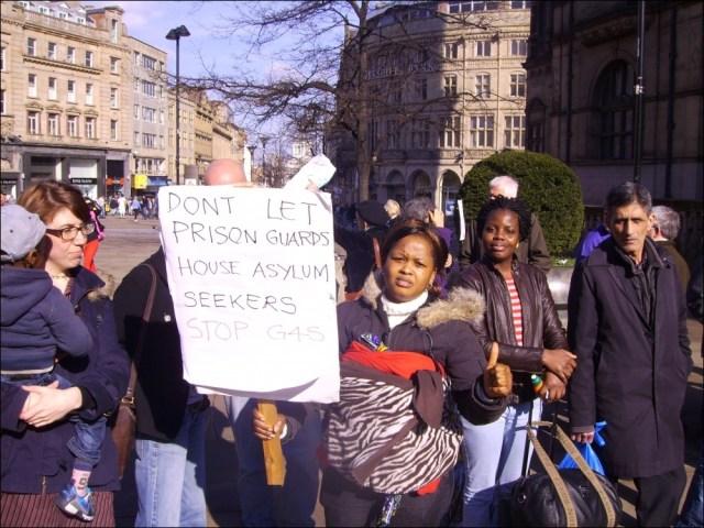 Asylum tenants protest in 2012 against G4S in Sheffield