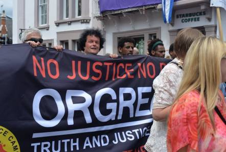 Eritrean refugees carry the Orgreave Justice banner at Durham Miners Gala. ESOL classes are now hosted in the Miners Union HQ in Barnsley