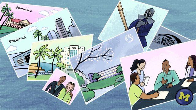 Illustrated postcards detailing Beckford's timeline