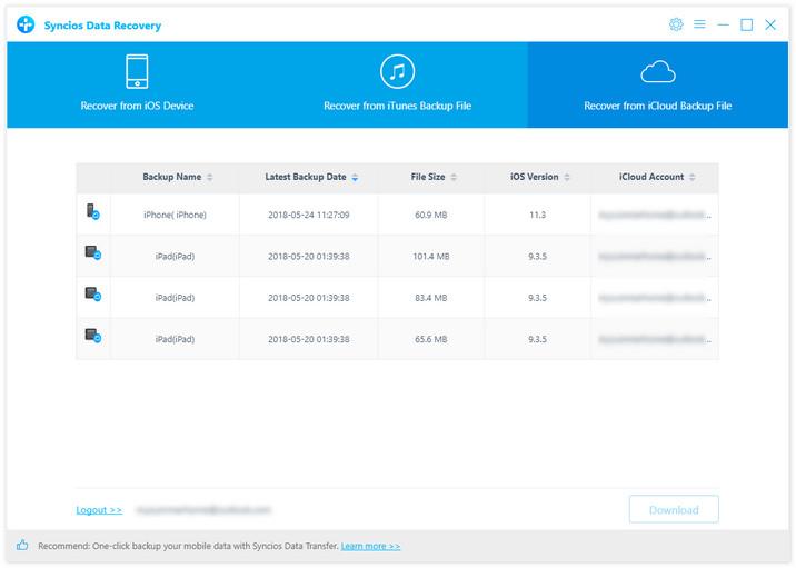 Escanear el archivo de copia de seguridad de iCloud
