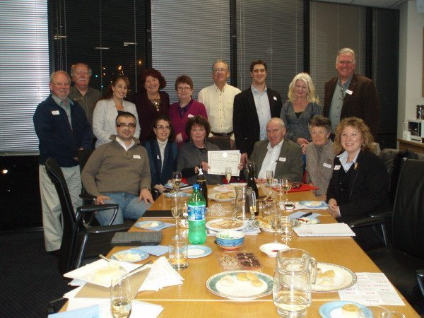 Alex Makin with other charter members at the inaugural meeting of the Rotary eClub of Greater Melbourne