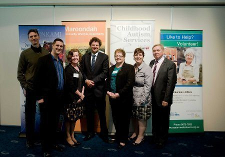 Alex with Simon McKeon, Jack Mulholland (Maroondah), Clare Grundy (Monkami), Judy Duff (Melba Support Services), Lisa Lawler (Irabina) and Paul Wheelton OAM