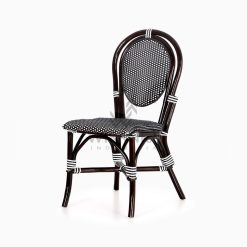 Iry Black Dining Arm Wicker Bistro Chair perspective