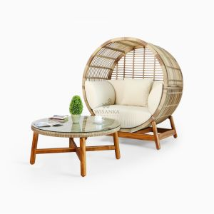Orza Daybed with Coffe Table Set Outdoor Rattan Patio Furniture