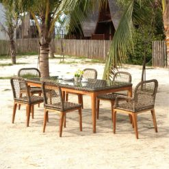 Tropical Dining Set - Outdoor Rattan Patio Furniture