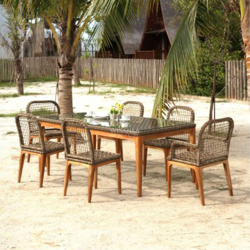 Tropical Dining Set - Outdoor Rattan Patio Furniture