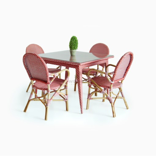 Clementine bistro chair with Joe Dining Table - Rattan Garden Furniture
