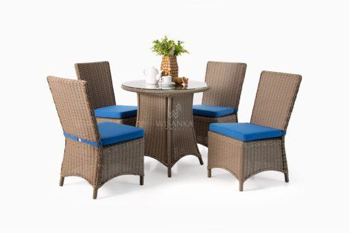 Stone Dining Set - Outdoor Rattan Patio Furniture