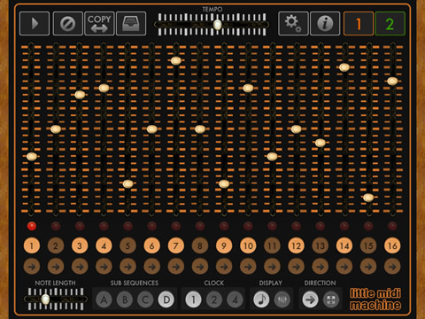 Little MIDI Machine midi sequencer for the ipad, iphone