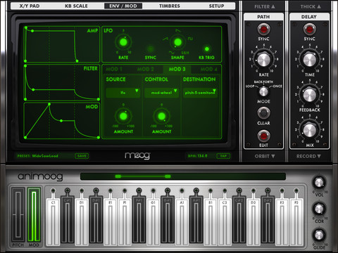 Animoog Moog Synthesizer for your iPad