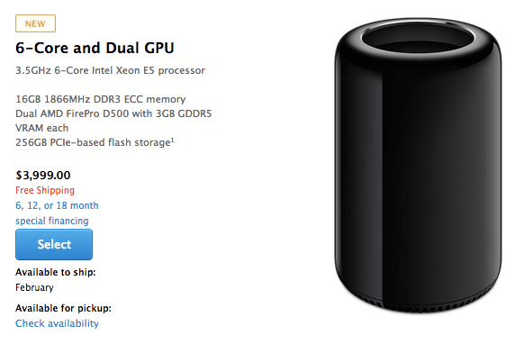 New Mac Pro Available To Order, Already Backordered Until February