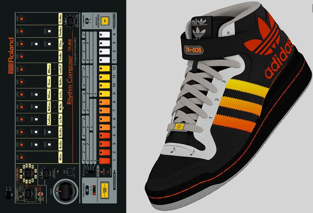 f02034181a7e Images of these Roland TR-808 inspired Adidas running shoes have been  blowing up on social media over the last few days. The 808 color scheme  looks pretty ...