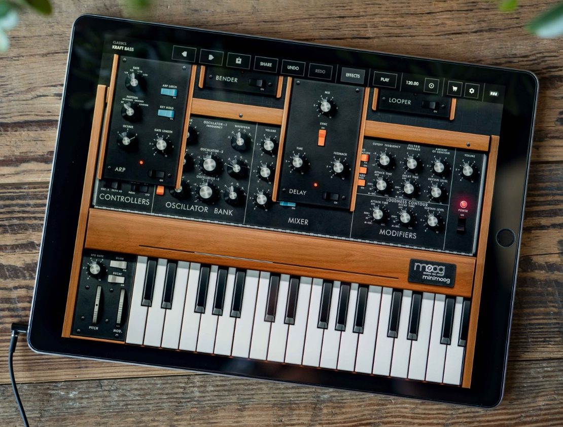 minimoog model d app recreates classic moog sound on ios synthtopia. Black Bedroom Furniture Sets. Home Design Ideas