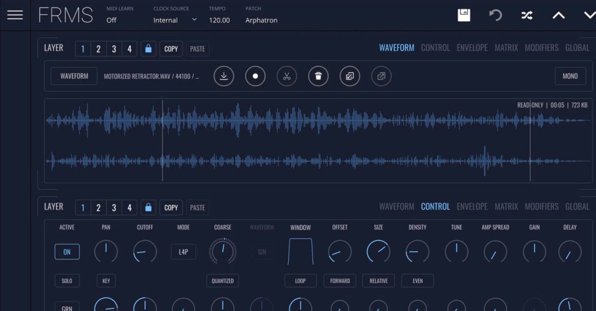New Software Synth, FRMS, Combines FM + Granular + Subtractive Synthesis
