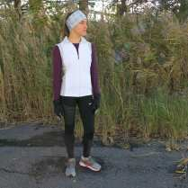 Dress for success! Many Central New York runners and walkers brave the elements to enjoy the fresh air year-round. The best way to be prepared is to layer up and be ready for anything! Laura is wearing a a plum Adidas Climacool shirt ($55); a white Brooks vest ($110) with zippered pockets to hold her keys, phone or nutrition; and Nike Epic Run tights ($80) to keep her warmand fast on her run. She's also wearing a Fleet Feet Sports exclusive shoe, the Karhu Synchron ($160). And don't forget the accessories! She's prepared for the elements with Saucony run mittens ($40); a Sauce insulator headband ($25); and purple Goodr sunglasses ($25), which are lightweight, polarized and won't slide off during the run.