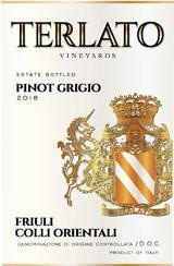 Terlato Pinot Grigio Friuli 2018 and Riedel Pinot Grigio Glass