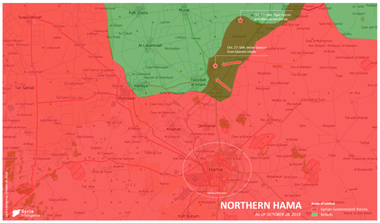Syria Intelligence - 20161027 - Northern Hama - SAA recaptures Sawran
