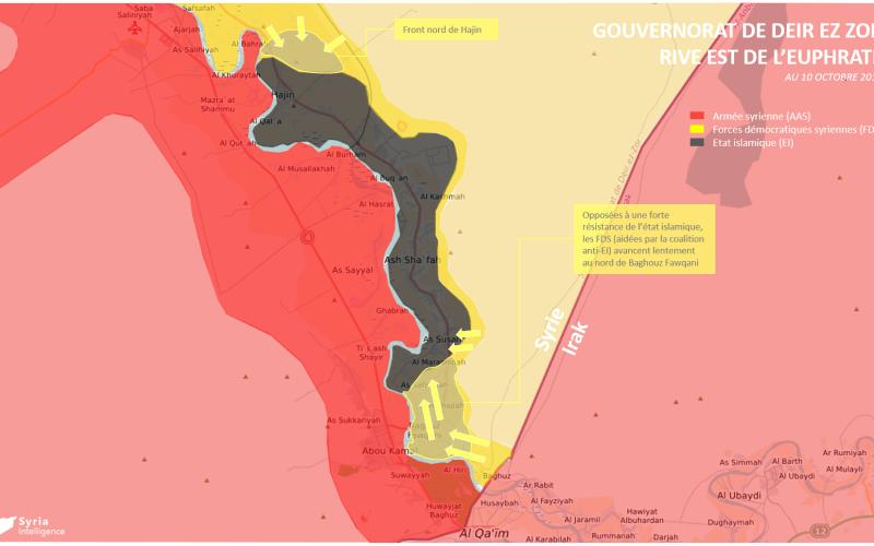Situation militaire au 10 octobre 2018 à l'est de l'Euphrate, Gouvernorat de Deir Ez-Zor.
