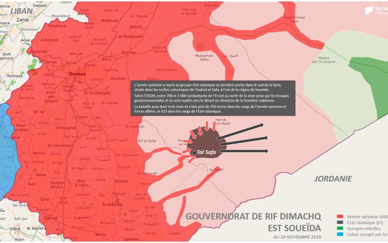 L'armée syrienne a repris à l'Etat islamique sa dernière poche dans le sud de la Syrie située dans les roches volcaniques de Touloul al-Safa, à l'est de la région de Soueida