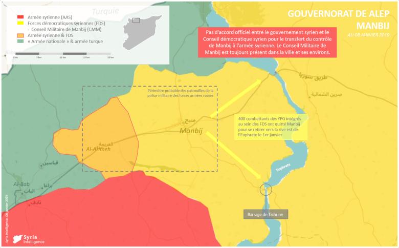 Situation militaire à Manbij : Patrouille de la police militaire russe