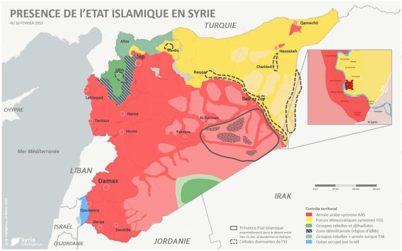 Contrôle territorial en Syrie : l'Etat islamique en passe de perdre le dernier territoire encore sous son contrôle