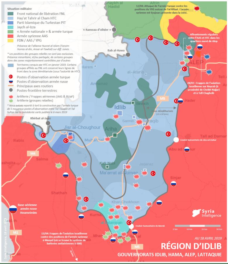 Situation militaire dans la région d'Idlib au 18 avril 2019 : Tensions dans la zone démilitarisée