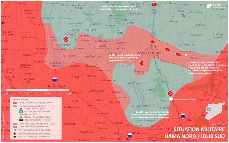 Situation militaire au nord de Hama au 22 août 2019 : Khan Cheikhoun sous contrôle de l'armée syrienne