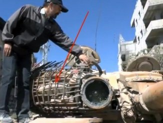 T-72 Tank Urban Special kit made in Syria: Protection by rubble.