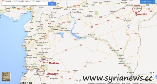Map of Northern Syria, in red circles: Qamishli, Qussayr & Rastan