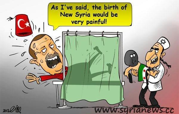 Syrian cartoon about the violent machinations of Turkish Prime Minister Erdogan.