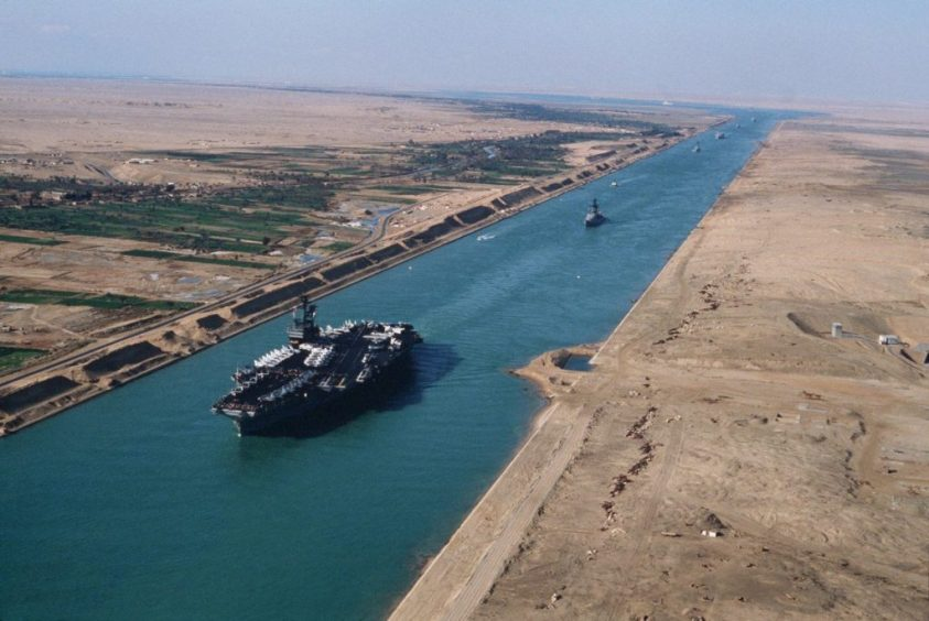 US Navy Aircraft Carrier Passing Through Suez Canal