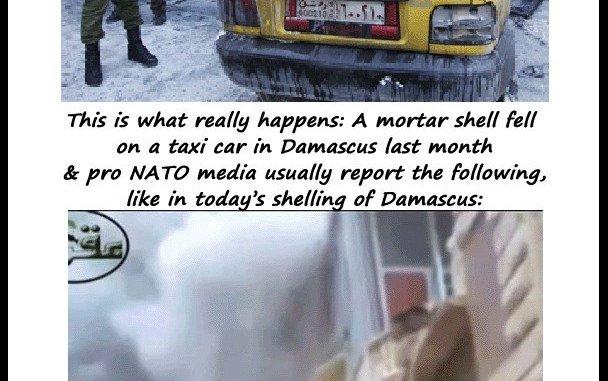 Mortars falling on people in Damascus