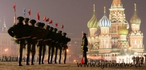 File photo of Russian soldiers marching during a military parade rehearsal in Red Square in Moscow