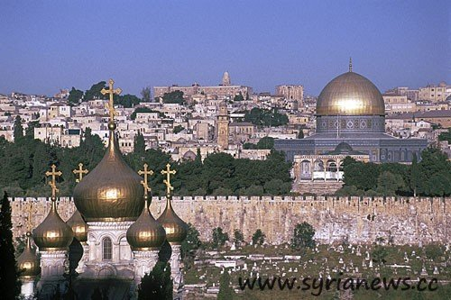 he dome of the rock and a chritian church T