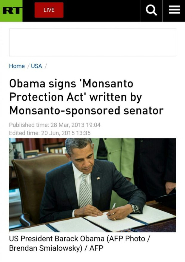 Obama signs Monsanto Protection Act ignoring all health concerns