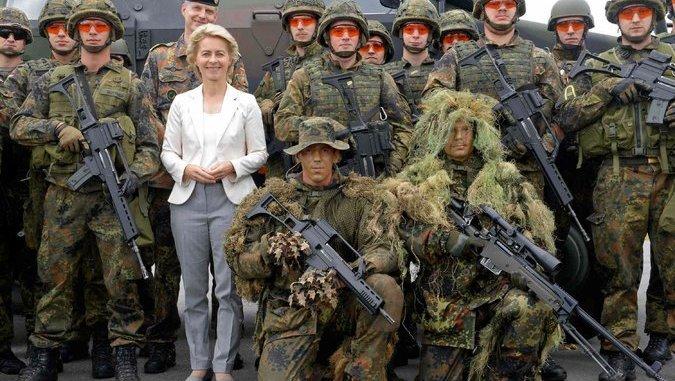 image- Defense Minister Ursula von der Leyen with her forces