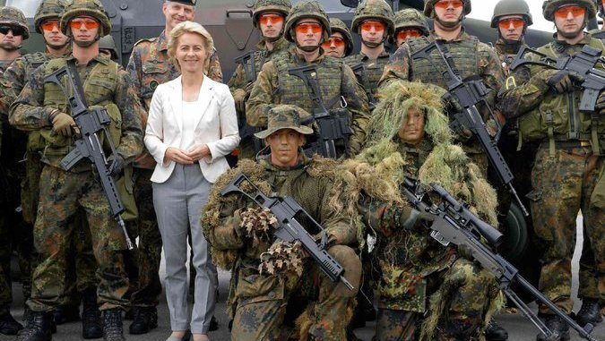 image- Defense Minister Ursula von der Leyen with her forces