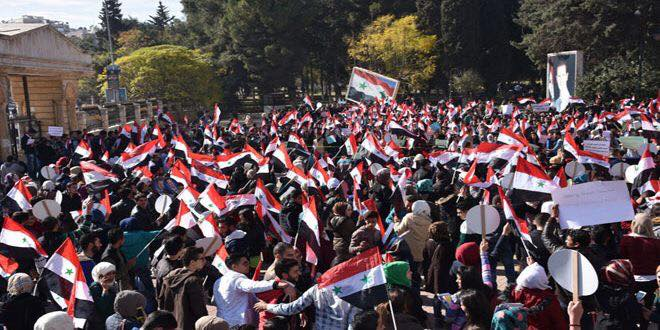 Syrians demonstrate against terrorists in Aleppo, 16 November