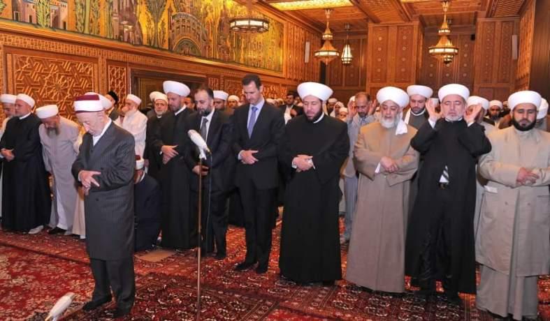 image-Sheikh al Bouti Leading Prayer with President al-Assad and Syria's Grand Mufti