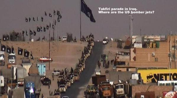 """ISIS"" in their Japanese Toyotas leaving Iraq to Syria. US coalition does not see them."