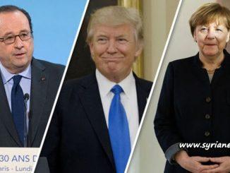 image- France Hollande - USA Trump - Germany Merkel