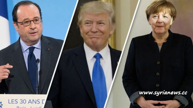 image- France Hollande - USA Trump - Germany Merkel