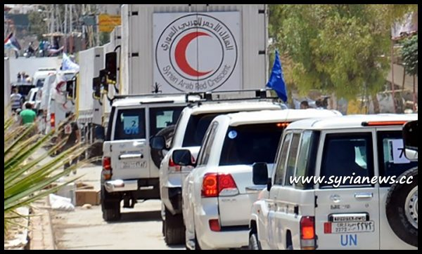 image-Syrian Red Crescent and Russian Aid Convoy arrive at Der Ezzor