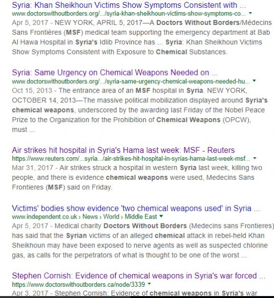 MSF, which is not in Syria, has consistently lied about chemical weapons attacks and about bombing fake hospitals.