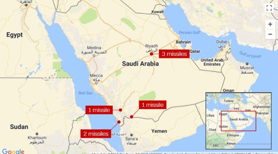 CNN Google Map Showing Targets Hit by Yemeni Missile