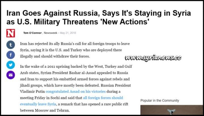 image-Newsweek Iran Goes Against Russia, Says It's Staying in Syria as U.S. Military Threatens 'New Actions'