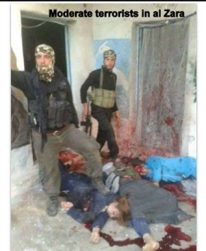BBC et al. somehow missed this trophy photo of moderate rebels standing on corpses of slaughtered Syrian women